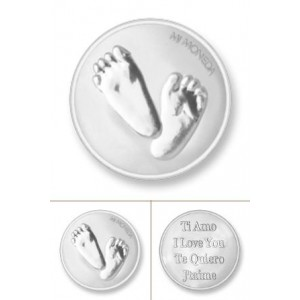Baby feet & Te quiero rodio plata tamaño pequeño
