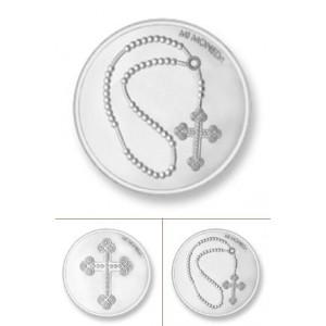Cruz & rosario rodio plata tamaño grande