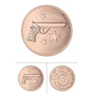 Pistola Rinhanna rodio oro rosa tamaño grande