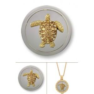 Swarovsky tortuga rodio oro amarillo tamaño mediano (3D)