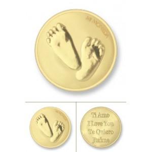 Baby feet & Te quiero rodio oro amarillo tamaño pequeño