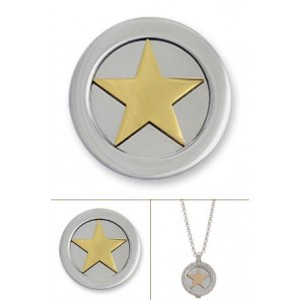 3D estrella rodio oro amarillo tamaño pequeño