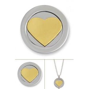 3D corazón rodio oro amarillo tamaño grande