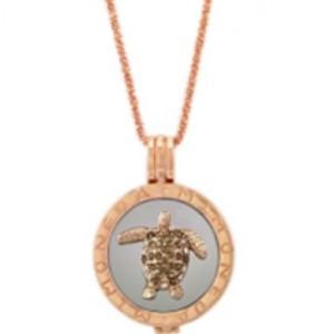 Tortuga oro rosa/cadena destello/colgante plata  M