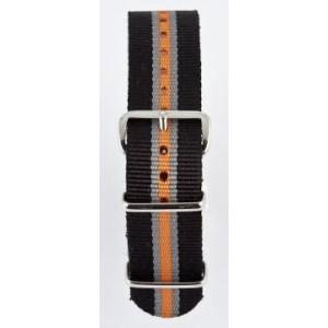 18 MM correa nylon tipo Nato negra/gris/naranja