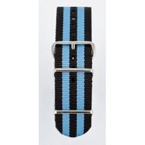 22 MM Correa Nylon tipo Nato negra/azul electrico