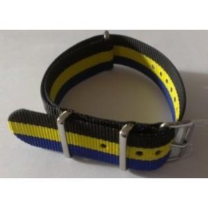20 MM correa nylon tipo Nato azul/amarilla/negra