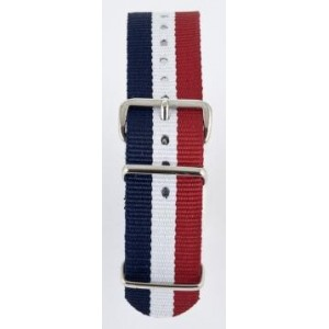 20 MM correa nylon tipo Nato azul/blanco/rojo
