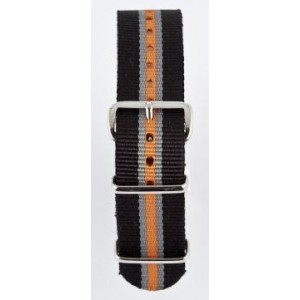 20 MM correa nylon tipo Nato negra/gris/naranja