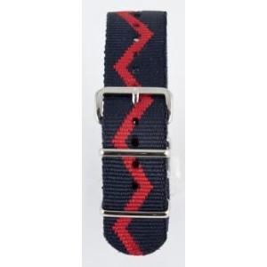 20 MM correa nylon tipo Nato azul marino/roja