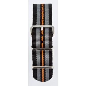 20 MM correa nylon tipo Nato negra/gris/negra/naranja