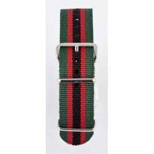 22 MM correa nylon tipo Nato verde/roja/negra