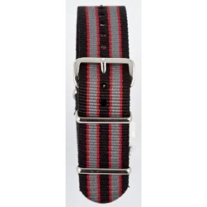 22 MM correa nylon tipo Nato negra/gris/roja