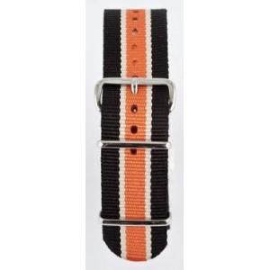 22 MM correa nylon tipo Nato negra/blanca/naranja