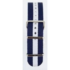 18 MM correa nylon tipo Nato azul marino/blanca