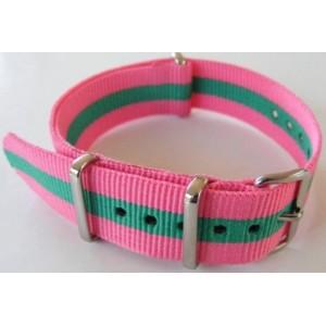 18 MM correa nylon tipo Nato rosa/verde