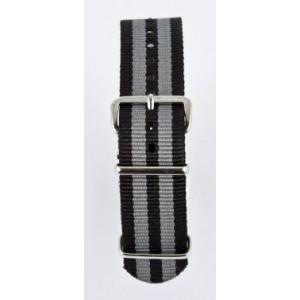 16 MM correa nylon tipo Nato negra/gris