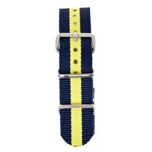 18 MM correa nylon tipo Nato azul/amarillo
