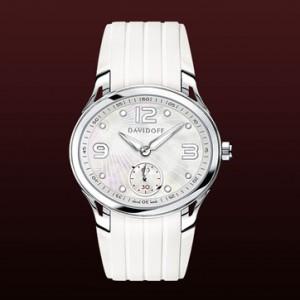 Reloj Davidoff white mother of pearl dial rubber